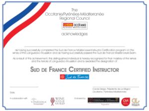 SUD DE FRANCE CERTIFIED WINE EDUCATOR
